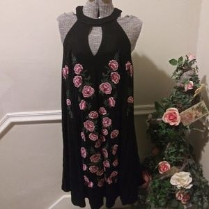 EUC Torrid Black Net Dress With Embroidered Roses